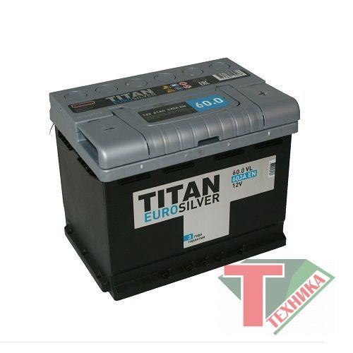 АКБ Титан 60.0 VL R  Ah-600 о/п (низкий) Euro Silver