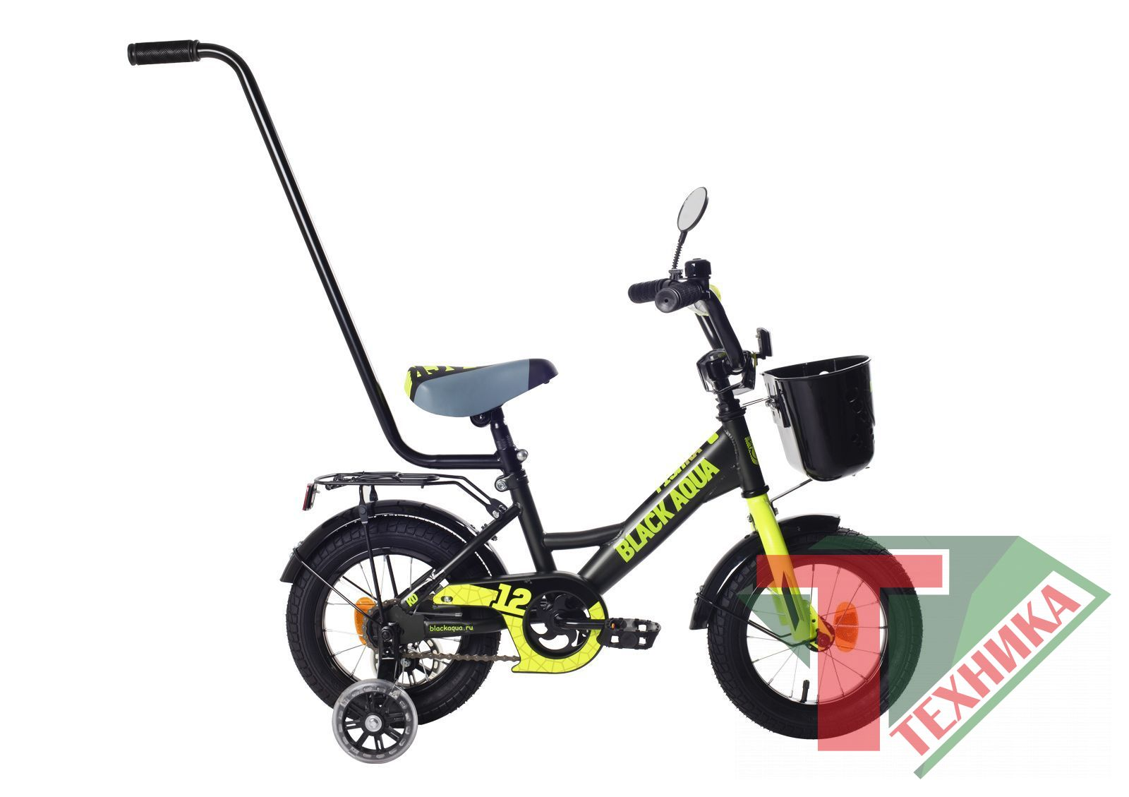 Велосипед KG1427 Black aqua Fishka 14 с ручкой matt, со светящимися колесами