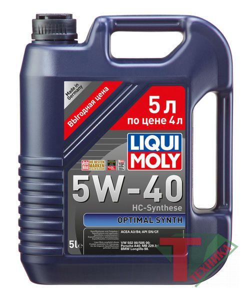 Liqui Moly Optimal Synth 5W40 SN/CF; A3/B4 5л