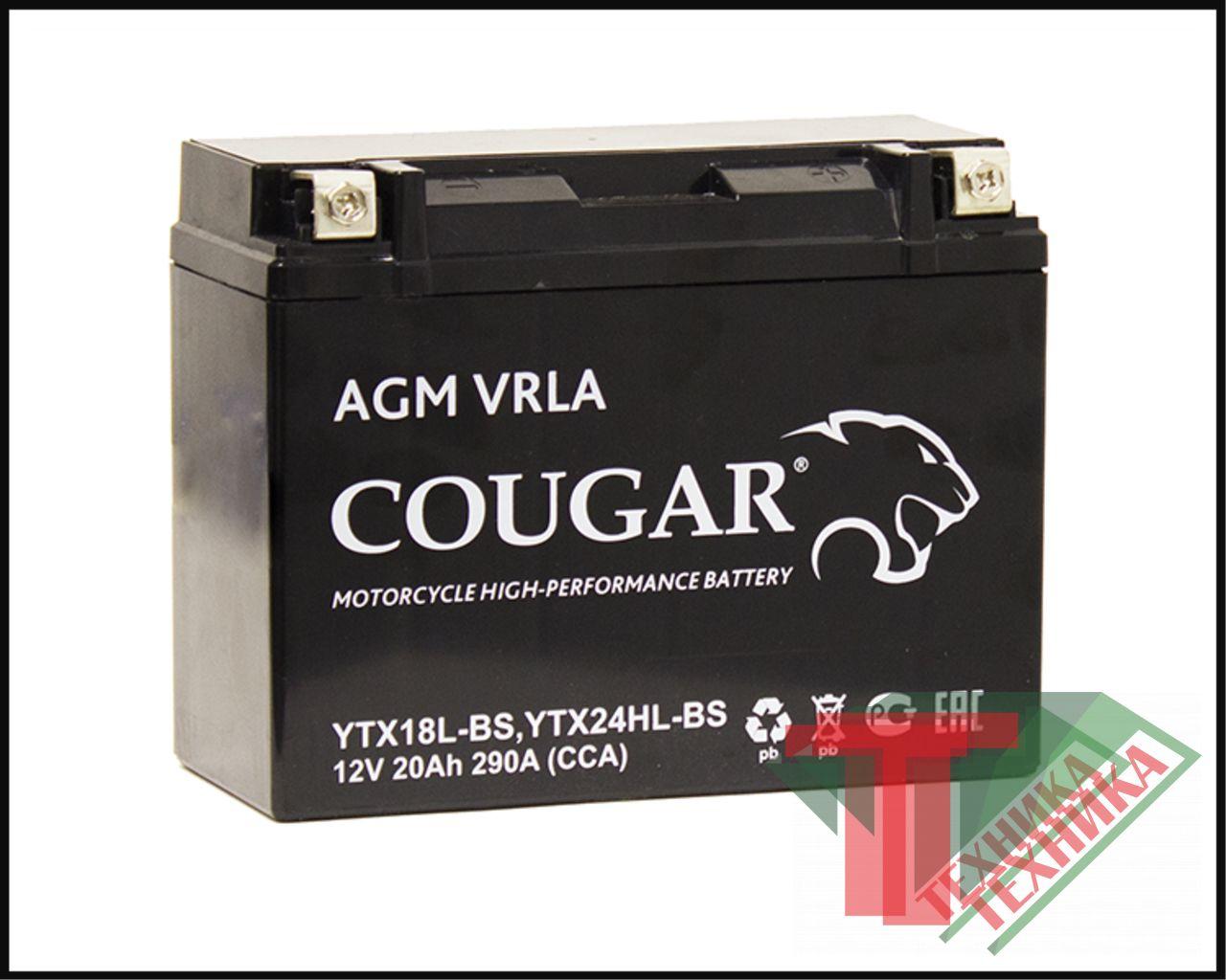 АКБ Cougar AGM 20Ah YTX18L-BS/YTX24HL-BS