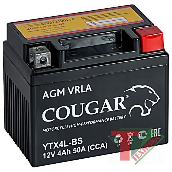 АКБ Cougar AGM 4Ah YTX4L-BS