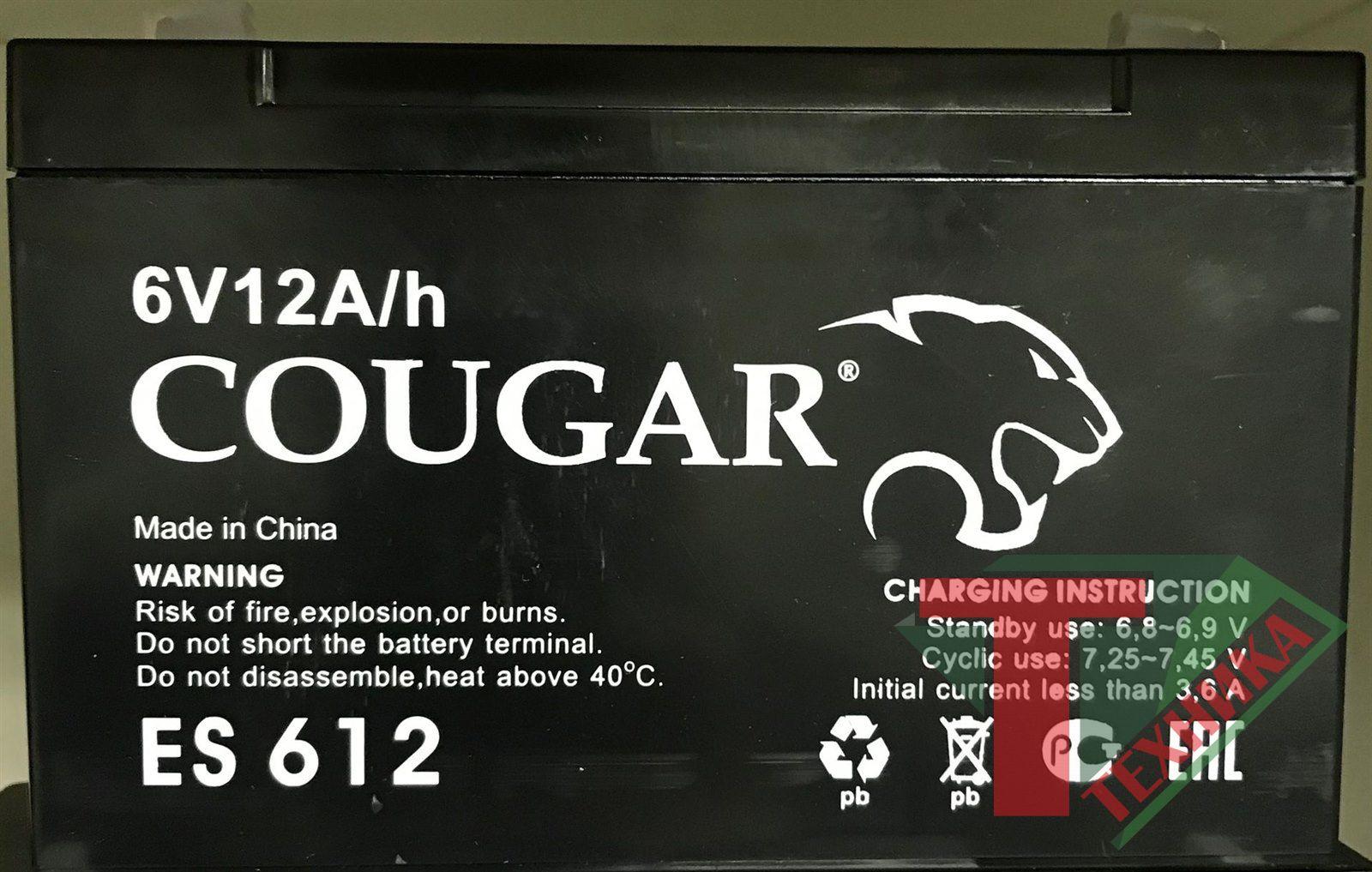 Акб Cougar ES 612 6V12A